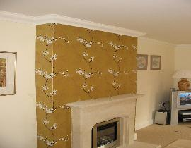 Feature wall wallpapering. Interior in Banbury, Oxfordshire